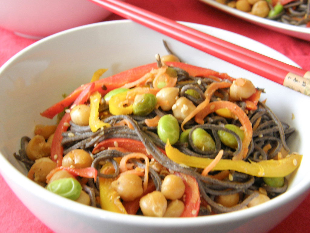 Black Bean Noodle and Vegetable Stir Fry